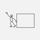 Cartoon icon of sketch stick business figure in cute miniature scenes. Stock Photo
