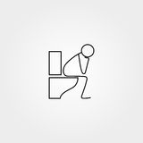 Cartoon icon of sketch stick figure doing life routine Royalty Free Stock Photos
