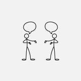 Cartoon icon of sketch stick figures in cute miniature scenes. Stock Photos