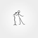 Cartoon icon of sketch stick singer figure in cute miniature scenes. Stock Photo