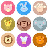 Cartoon  icons of animals Stock Images