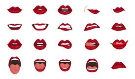 Cartoon icons big set isolated. Cute mouth expressions facial gestures lips sadness rapture disappointment fear surprise. Cute mouth expressions facial gestures stock illustration