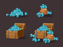 Cartoon Icons blue crystals. Gemstones,gems,diamonds for the games interface web, game or application interfaces. Vector illustration, animation.Treasure chest Royalty Free Stock Image