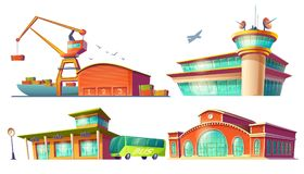 Cartoon icons of bus station, airport, sea port. Set of colored 3d cartoon icons of bus station buildings, airport, sea or river cargo port, dock,  on white Royalty Free Stock Image