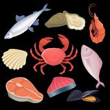 Cartoon icons set with different kind of seafood. Tuna, oysters, shrimp, freshwater fish, crab, scallop, salmon steak. And mussels. Vector illustration in flat Royalty Free Stock Photography