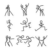 Cartoon icons set of sketch little dancing people in cute miniature scenes. Royalty Free Stock Image