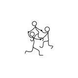Cartoon icons set of sketch little dancing people in cute miniature scenes. Royalty Free Stock Image