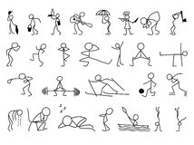 Cartoon icons set of sketch little people in cute miniature scenes. Royalty Free Stock Image