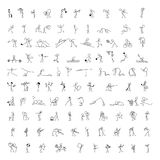 Cartoon icons set of 100 sketch little people stick figure. Cartoon icons set of 100 sketch little vector people stick figure in cute miniature scenes Royalty Free Stock Photography