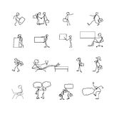 Cartoon icons set of sketch stick business figures in cute miniature scenes. Cartoon icons set of sketch stick business figures vector people in cute miniature Stock Images