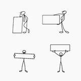 Cartoon icons set of sketch stick business figures in cute miniature scenes. Cartoon icons set of sketch stick business figures vector people in cute miniature Royalty Free Stock Images