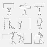 Cartoon icons set of sketch stick business figures in cute miniature scenes. Cartoon icons set of sketch stick business figures vector people in cute miniature Stock Image