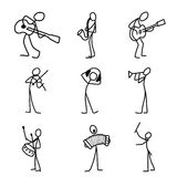 Cartoon icons set of sketch stick musician figures in cute miniature scenes. Stock Photo