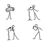 Cartoon icons set of sketch stick singer figures in cute miniature scenes. Stock Images