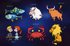 Cartoon icons with signs of the zodiac Royalty Free Stock Image
