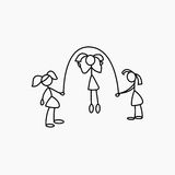 Cartoon icons of sketch little girls people in cute miniature scenes. Royalty Free Stock Image