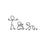Cartoon icons of sketch little people in cute miniature scenes. Cartoon icons of sketch little vector people in cute miniature scenes Royalty Free Stock Image