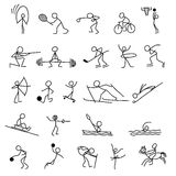 Cartoon icons sport set of stick figures sketch little people. Cartoon icons sport set of stick figures sketch little vector people in cute miniature scenes Royalty Free Stock Photography