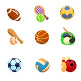 Cartoon icons of sports with balls. There are cartoon icons of balls for American football, tennis, volleyball, baseball, basketball, golf, football, handball Stock Image