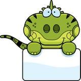 Cartoon Iguana Sign Stock Images
