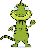 Cartoon Iguana Waving Stock Image