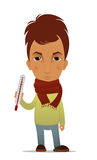 Cartoon ill guy with a thermometer Royalty Free Stock Photo
