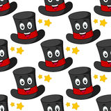 Cartoon Illusionist Hat Seamless Pattern Royalty Free Stock Image