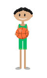 Cartoon illustration of an African boy with basketball Royalty Free Stock Images