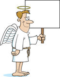 Cartoon angel holding a sign Stock Photo