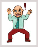 Cartoon illustration of an angry man with exclamation mark Stock Image