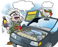Cartoon illustration of an Arab who tests a new type of oil on the car. Cartoon illustration of an Arab who tests a new type of oil on the new car Royalty Free Stock Image