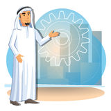 Cartoon illustration of arabian businessman on the background of the city Stock Image