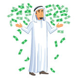 Cartoon illustration of arabian businessman with the falling notes Stock Photography