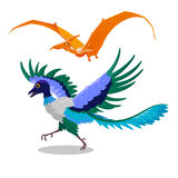 Cartoon illustration of Archaeopteryx and Pterodactyl. Flying dinosaur fossil bird of the Jurassic period. Comical decorative orange color pterodactyl and blue Royalty Free Stock Images
