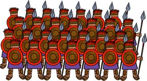 Philistine Soldiers. Cartoon illustration of an army of Philistine soldiers Stock Photo