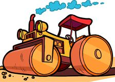 Cartoon illustration asphalt roller Royalty Free Stock Images