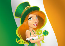 Irish woman with shamrock. Cartoon illustration of attractive woman in green top hat with shamrock, Irish tricolor flag in background Royalty Free Stock Images
