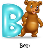Cartoon illustration of B letter for Bear Stock Photo