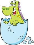 Cartoon baby dinosaur hatching stock illustration