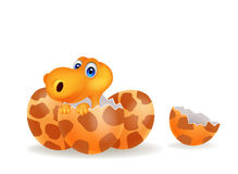 Cartoon illustration of a baby dinosaur hatching Royalty Free Stock Photos