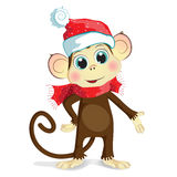 Cartoon illustration of baby monkey. Cartoon vector illustration of cute baby monkey dressed in winter clothing, red cap and scarf. The monkey, a symbol of the Royalty Free Stock Images
