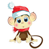 Cartoon illustration of baby monkey. Cartoon vector illustration of a pretty baby monkey sitting on the floor and wearing a red knitted hat and scarf. The monkey Royalty Free Stock Images