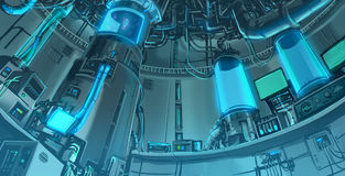 Cartoon illustration banckground scene of massive science labora. Cartoon illustration background scene of massive science laboratory in futuristic and sci-fi Stock Photo