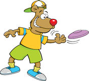 Cartoon bear throwing a flying disc Stock Images