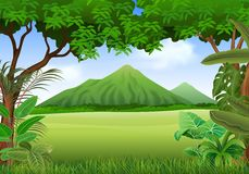 Cartoon illustration of beautiful natural landscape background Royalty Free Stock Images