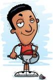 Confident Cartoon Black Badminton Player. A cartoon illustration of a black man badminton player looking confident stock illustration