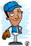 Confident Cartoon Black Baseball Player. A cartoon illustration of a black man baseball player looking confident stock illustration