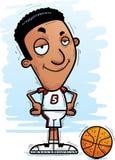 Confident Cartoon Black Basketball Player. A cartoon illustration of a black man basketball player looking confident royalty free illustration