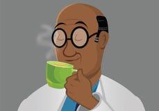 Drinking tea. Cartoon illustration of a black man drinking tea Stock Images