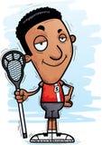 Confident Cartoon Black Lacrosse Player. A cartoon illustration of a black man lacrosse player looking confident stock illustration